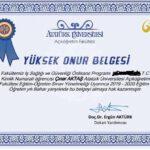 Atatürk üniversitesi iş sağlığı ve güvenliği yüksek onur belgesi